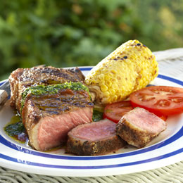 Chili Strip Steaks with Chimichurri and Chipotle Drizzles%u2028